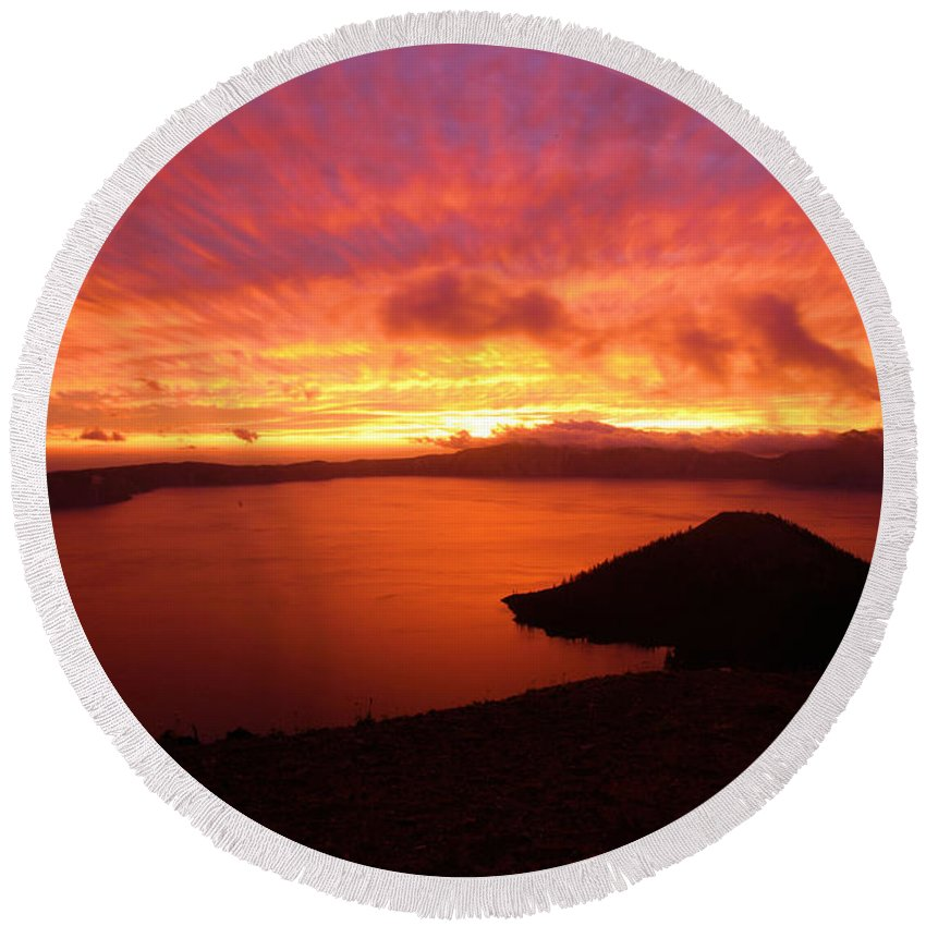 Crater Lake National Park Round Beach Towel featuring the photograph Sunrise Over Crater Lake by Adam Jewell
