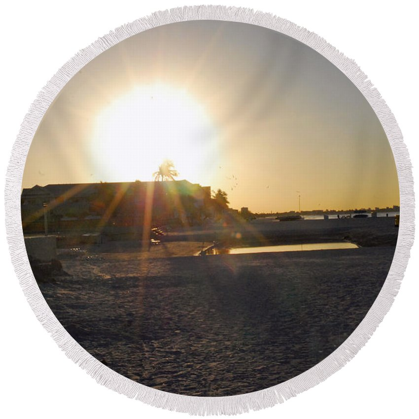 Fort Myers Beach Round Beach Towel featuring the photograph Sunrise Over Fort Myers Beach by Gary Wonning