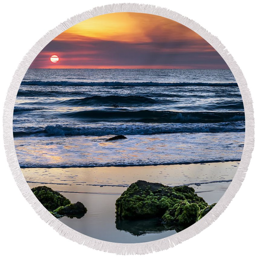 Sunrise Round Beach Towel featuring the photograph Sunrise Serenity by Janet Fikar