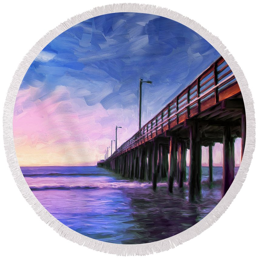 Sunset Round Beach Towel featuring the painting Sunset At Avila Beach by Dominic Piperata