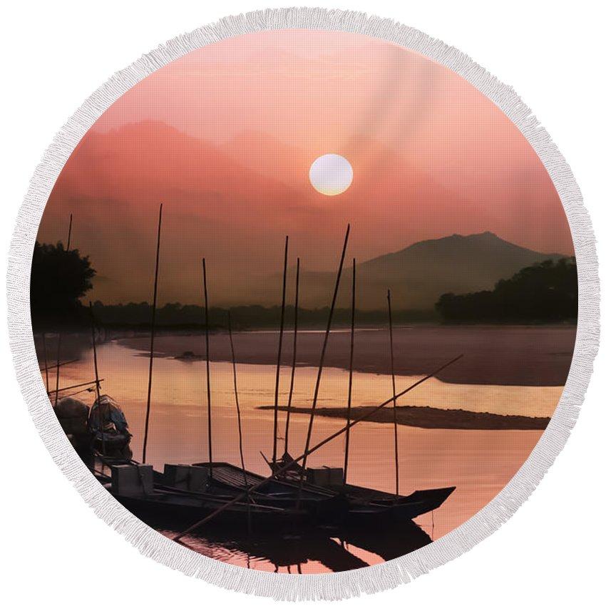 Abstract Round Beach Towel featuring the photograph sunset at Mae Khong river by Setsiri Silapasuwanchai
