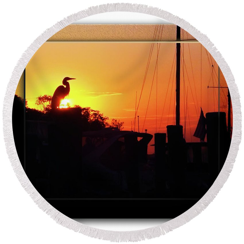 2d Round Beach Towel featuring the photograph Sunset At The Granary by Brian Wallace
