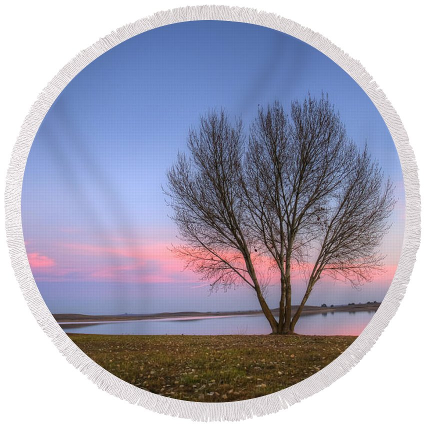 Sunset Round Beach Towel featuring the photograph Sunset At The Lake by Jim And Emily Bush