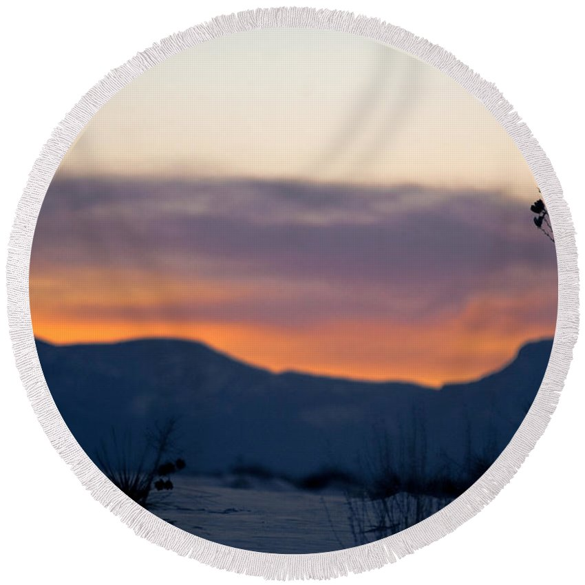 White Sands National Monument Round Beach Towel featuring the photograph Sunset At White Sands by Ralf Kaiser
