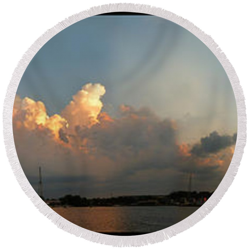 Sturgeon Bay Round Beach Towel featuring the photograph Sunset Clouds Over The Bay by Tim Nyberg