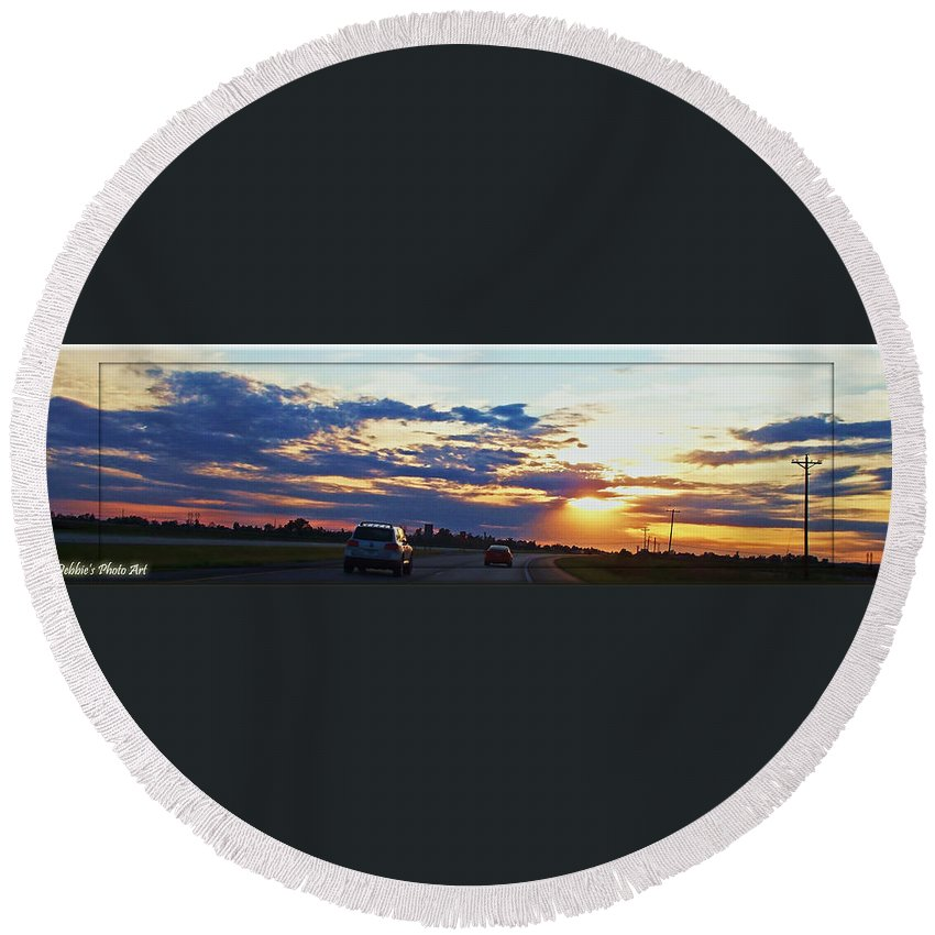 Landscape Round Beach Towel featuring the photograph Sunset Drive by Debbie Portwood