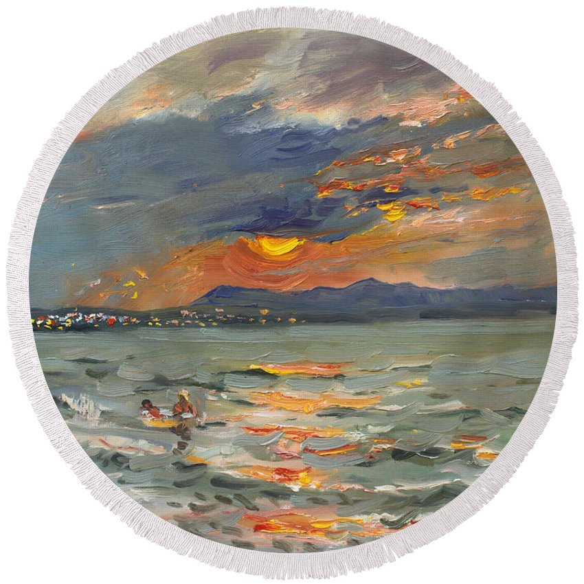 Seascape Round Beach Towel featuring the painting Sunset In Aegean Sea by Ylli Haruni