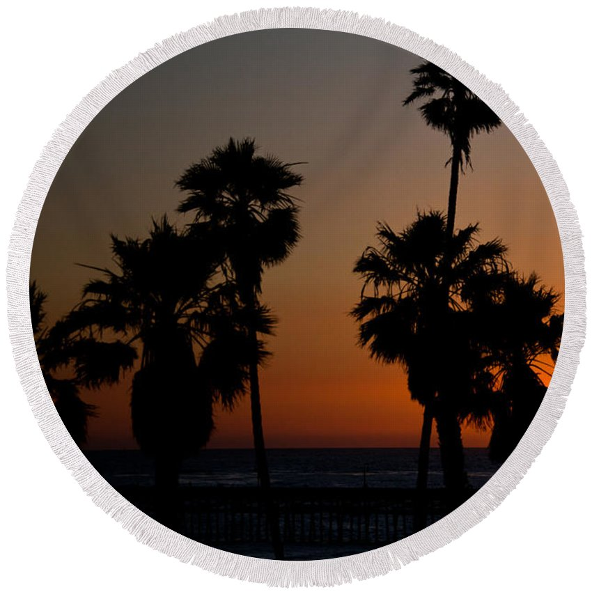 San Clemente Round Beach Towel featuring the photograph sunset in Califiornia by Ralf Kaiser