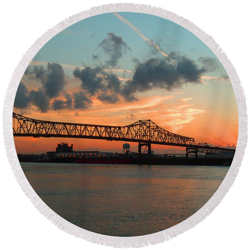 Bridge Round Beach Towel featuring the photograph Sunset On The Mississippi by Lydia Holly