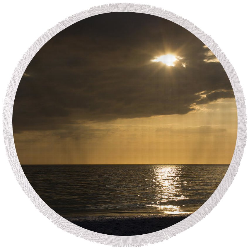 Sunset Round Beach Towel featuring the photograph Sunset Over The Gulf - Peeking Through The Clouds by Robin Lewis