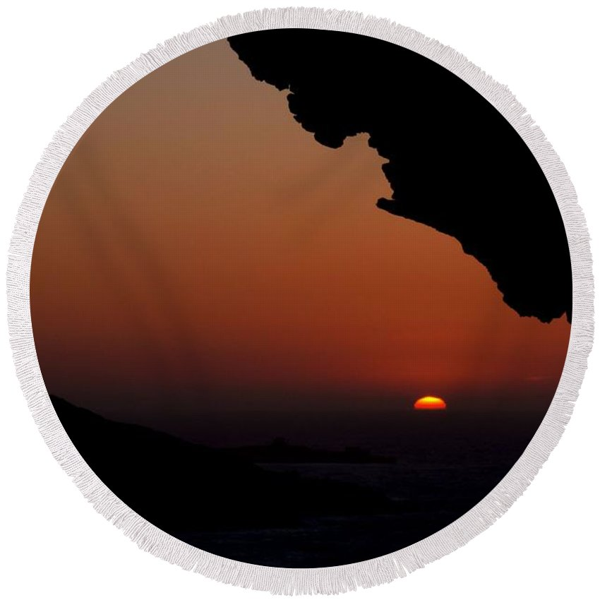 Sand Round Beach Towel featuring the photograph Sunset Over The Small Island by Focus Fotos