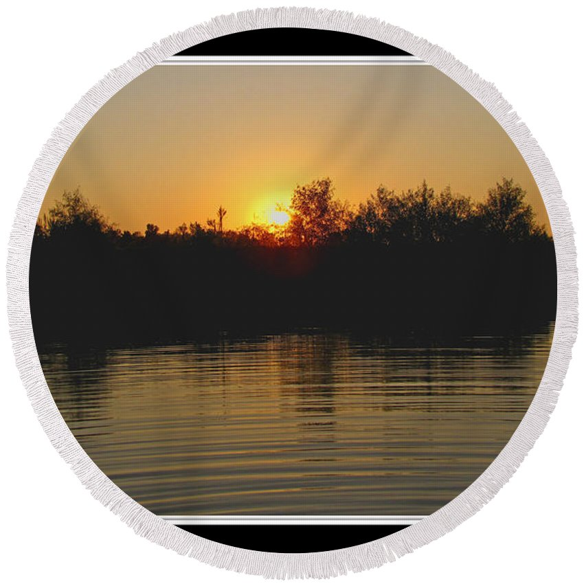 Landscape Round Beach Towel featuring the photograph Sunset Pond by Debbie Portwood