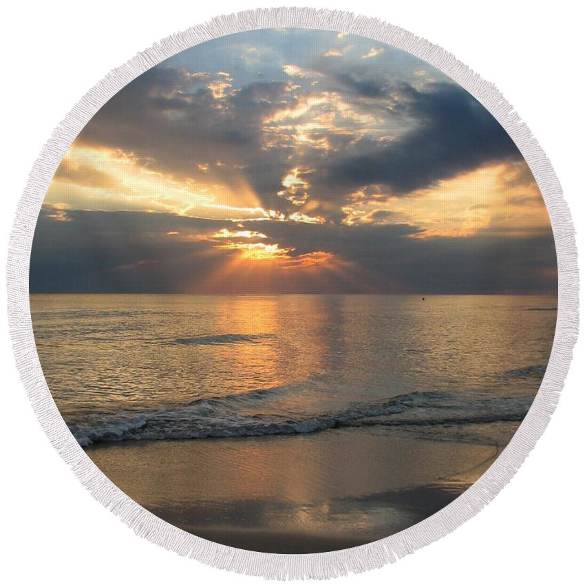 Sunset Round Beach Towel featuring the photograph Sunset Sky by Carla Parris