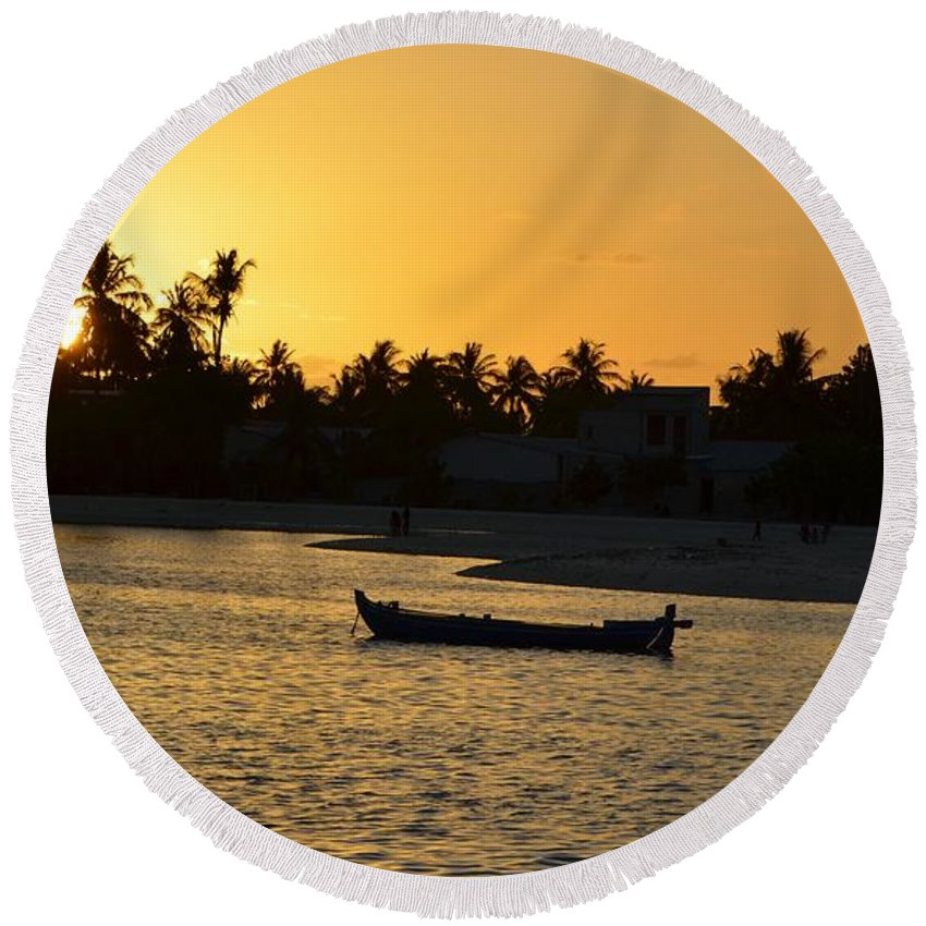 Boat Round Beach Towel featuring the photograph Sunset Two by Alfie Borg