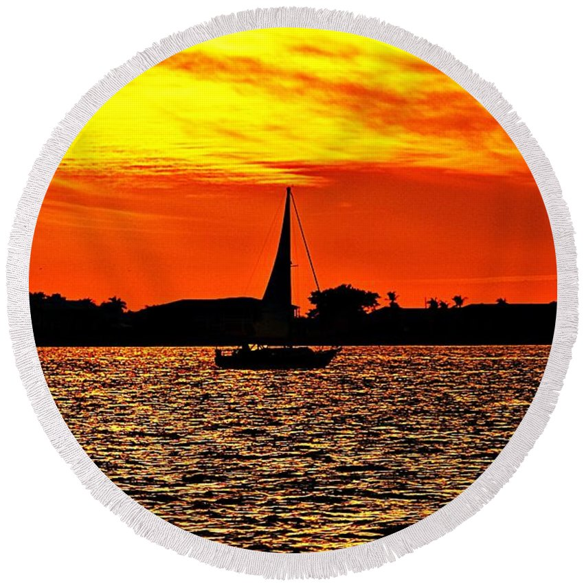 Sunset Round Beach Towel featuring the photograph Sunset Xxxiv by Joe Faherty