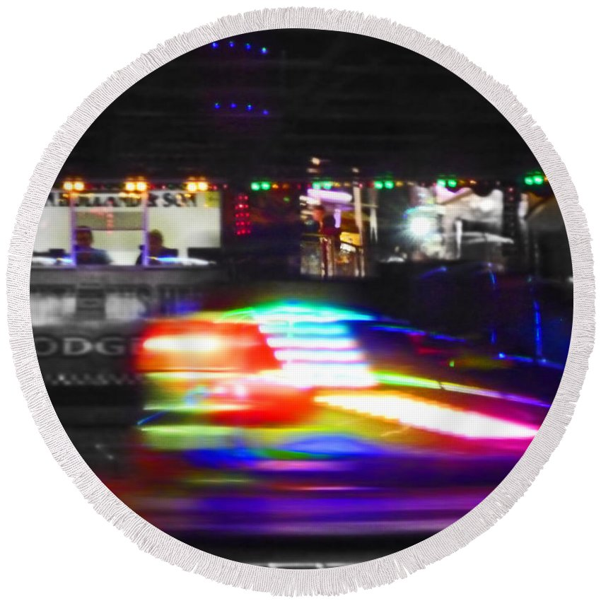Dodgem Round Beach Towel featuring the photograph Super Dodge by Charles Stuart
