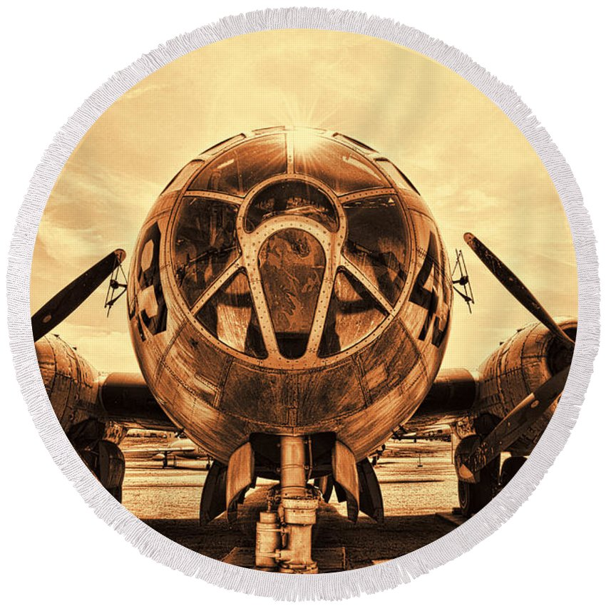 Boeing B-29 Superfortress Round Beach Towel featuring the photograph Superfortress by Tommy Anderson