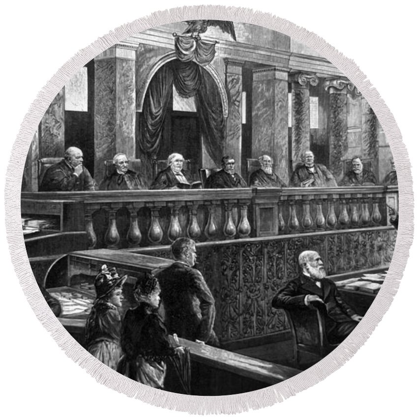 1888 Round Beach Towel featuring the photograph Supreme Court, 1888 by Granger