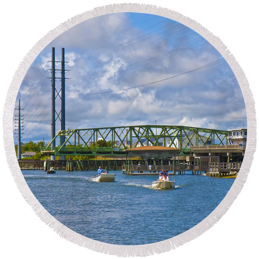 Topsail Round Beach Towel featuring the photograph Surf City Swing Bridge by Betsy Knapp