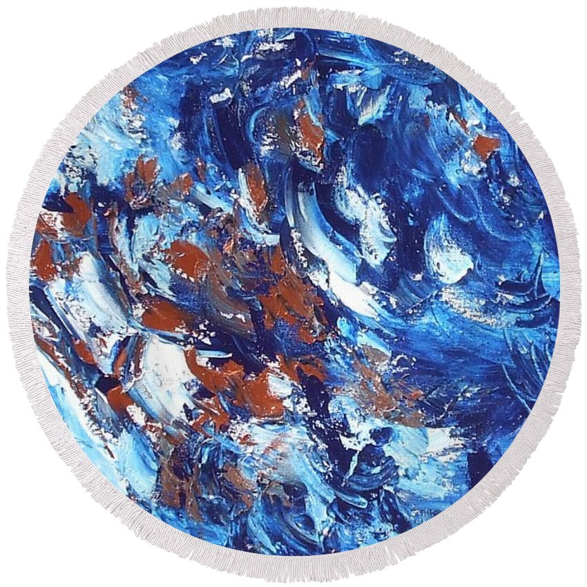 Abstract Round Beach Towel featuring the painting Surf by Claire Gagnon