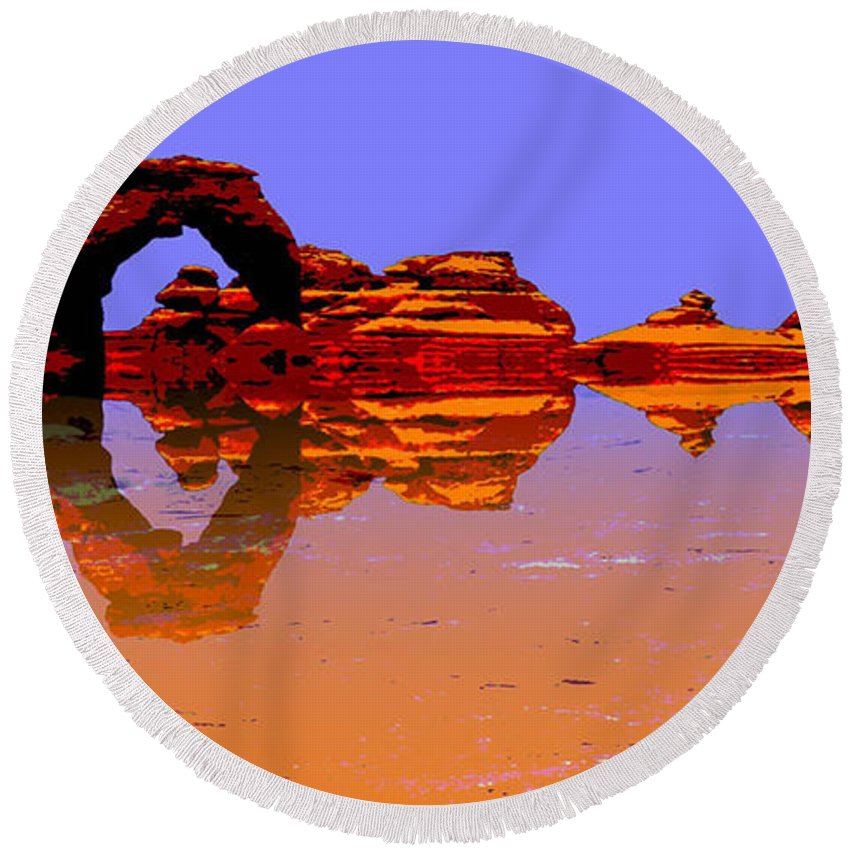 Award Winning Round Beach Towel featuring the digital art Surreal by Peggy Starks