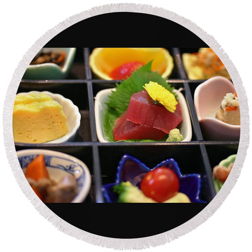 Japan Round Beach Towel featuring the photograph Sushi Art by David Rucker