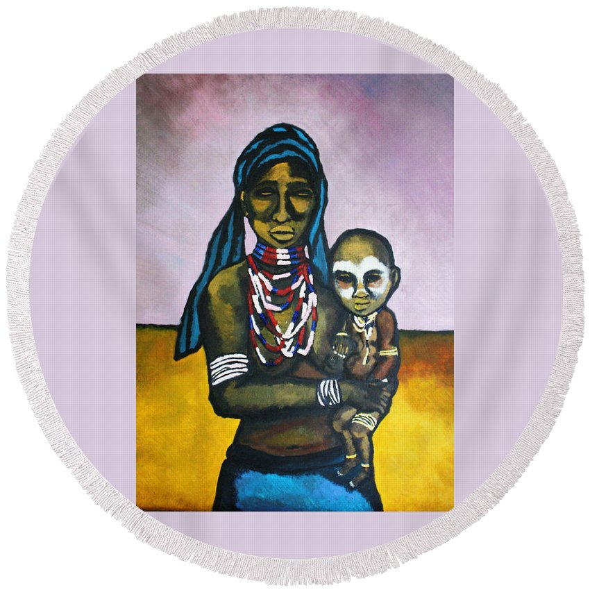 Africa Round Beach Towel featuring the painting Suspire by Pixie Alex
