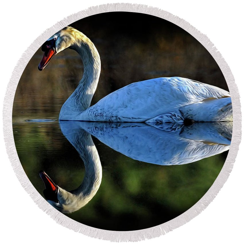 Swan Round Beach Towel featuring the photograph Swan by Dave Mills