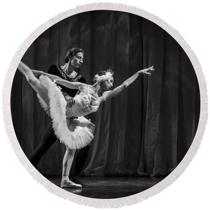 Hermitage Round Beach Towel featuring the photograph Swan Lake White Adagio Russia 3 by Clare Bambers