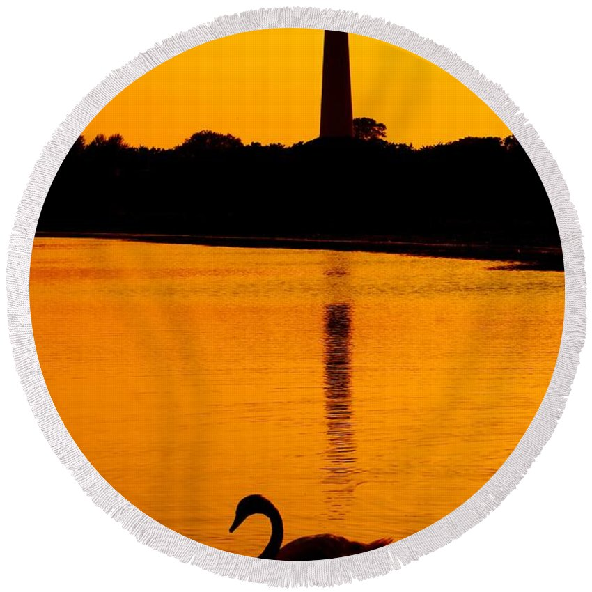 Lighthouse Round Beach Towel featuring the photograph Swan Sunset At The Light by Nick Zelinsky