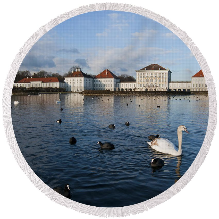 Bavaria Round Beach Towel featuring the photograph Swans Seen At Nymphenburg Palace by Andrew Michael