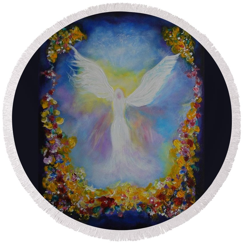 Angel Painting Round Beach Towel featuring the painting Sweet Angel by Leslie Allen