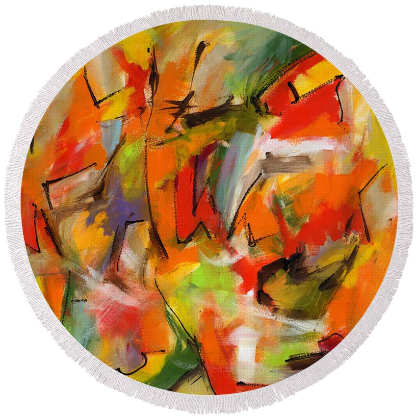 Abstract Art Round Beach Towel featuring the painting Swept Away by Lynne Taetzsch
