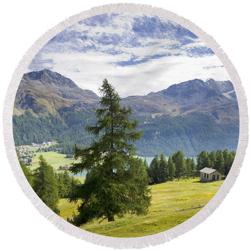 Panoramic View Round Beach Towel featuring the photograph Swiss Alps by Mats Silvan