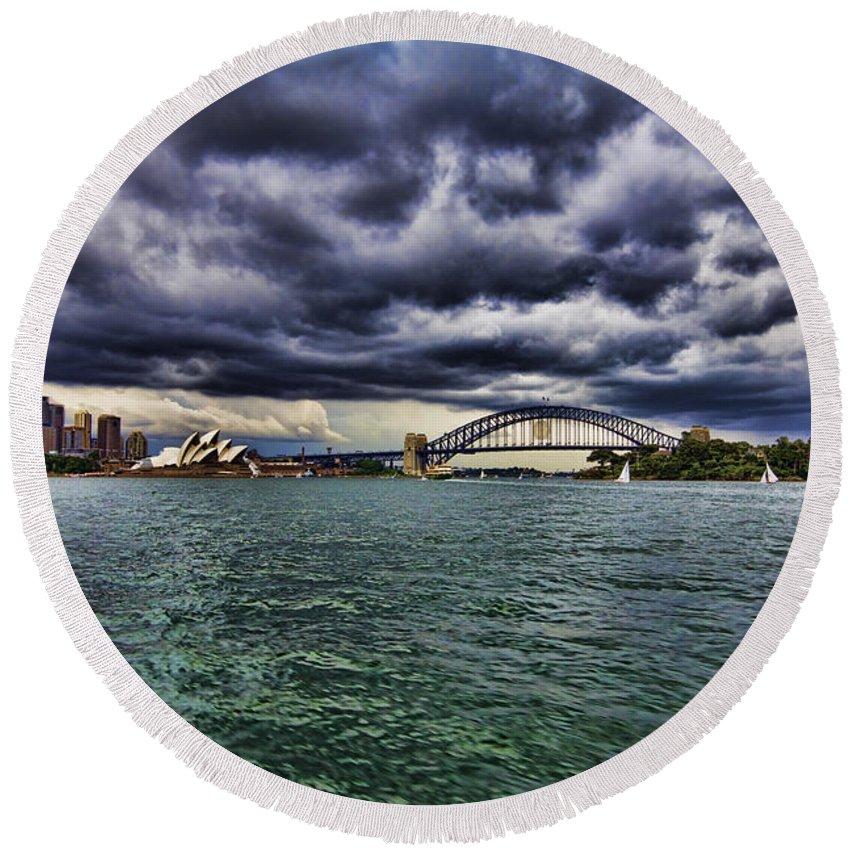 Sydney Opera House Round Beach Towel featuring the photograph Sydney Symphony by Douglas Barnard