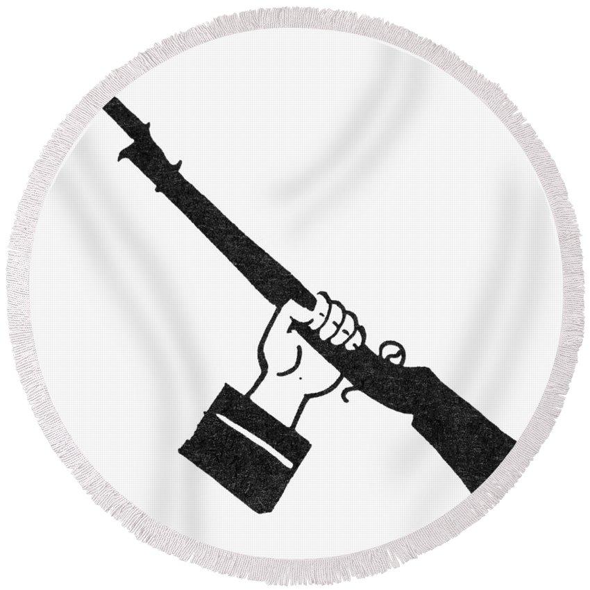 Bayonet Round Beach Towel featuring the photograph Symbol: Raised Gun by Granger