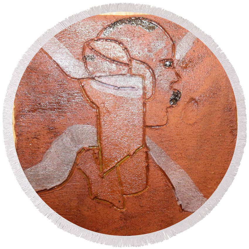 Jesus Round Beach Towel featuring the ceramic art Taata - Tile by Gloria Ssali