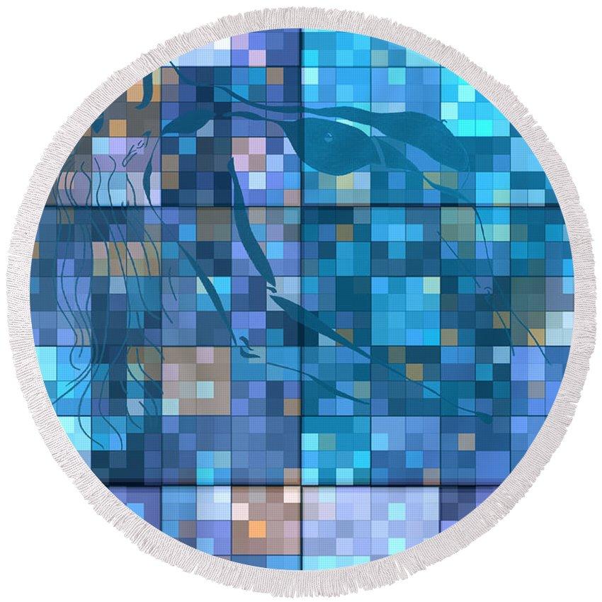 Hearts Digital Art Round Beach Towel featuring the digital art Take Me Geometric Blue by Mayhem Mediums