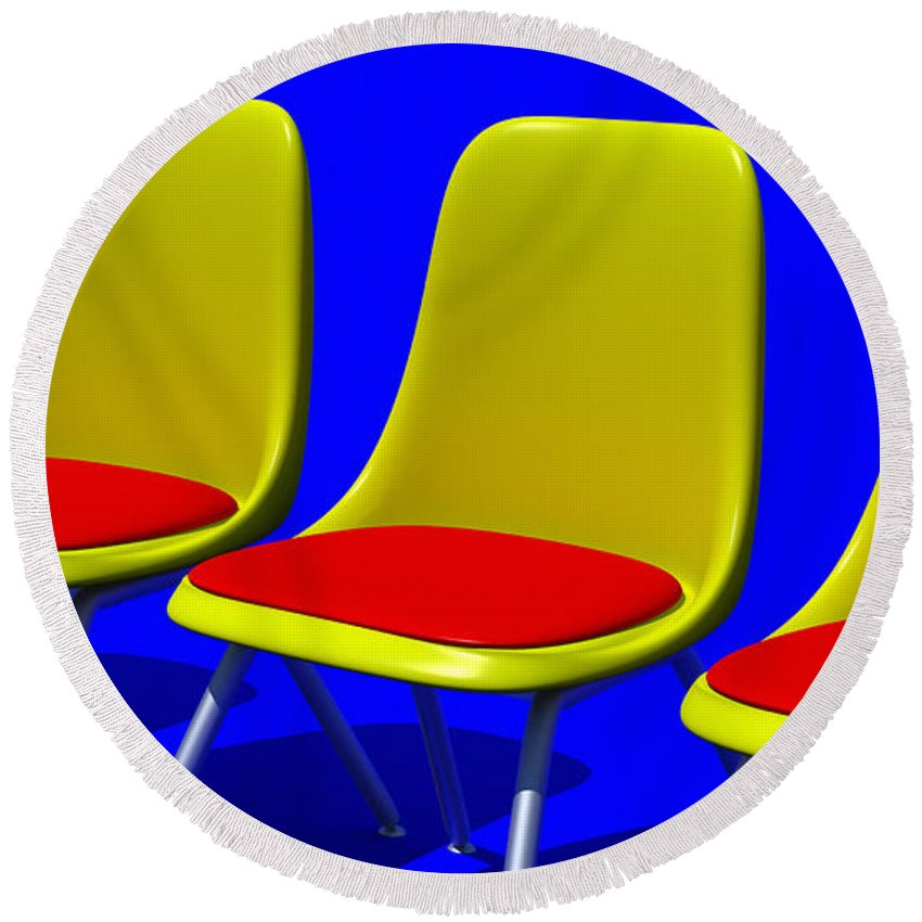 Furniture Round Beach Towel featuring the digital art Take Your Seat by Richard Rizzo