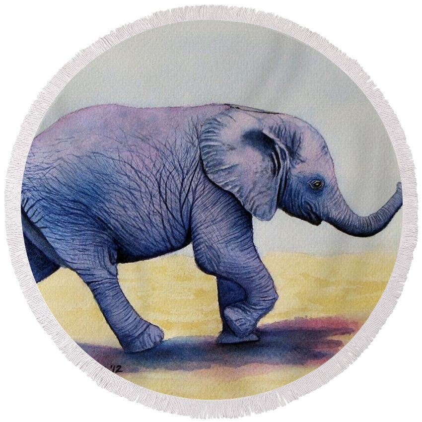 Elephant Round Beach Towel featuring the painting Taking A Walk by Sharon Farber