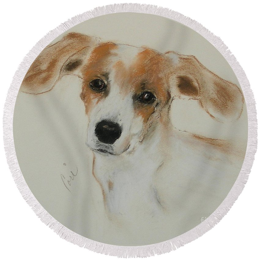 Dog Round Beach Towel featuring the drawing Taking Off by Cori Solomon