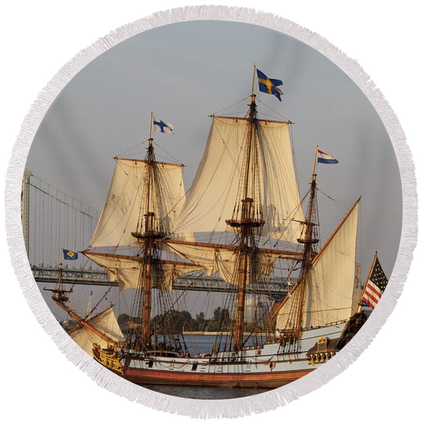 Tall Ship Penns Landing Bridge Seaport Water Boat Round Beach Towel featuring the photograph Tall Ship Four by Alice Gipson