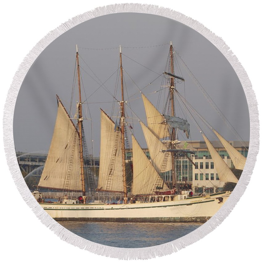 Tall Ships Seaport Camden New Jersey View Delaware River Boats Round Beach Towel featuring the photograph Tall Ship Seven by Alice Gipson
