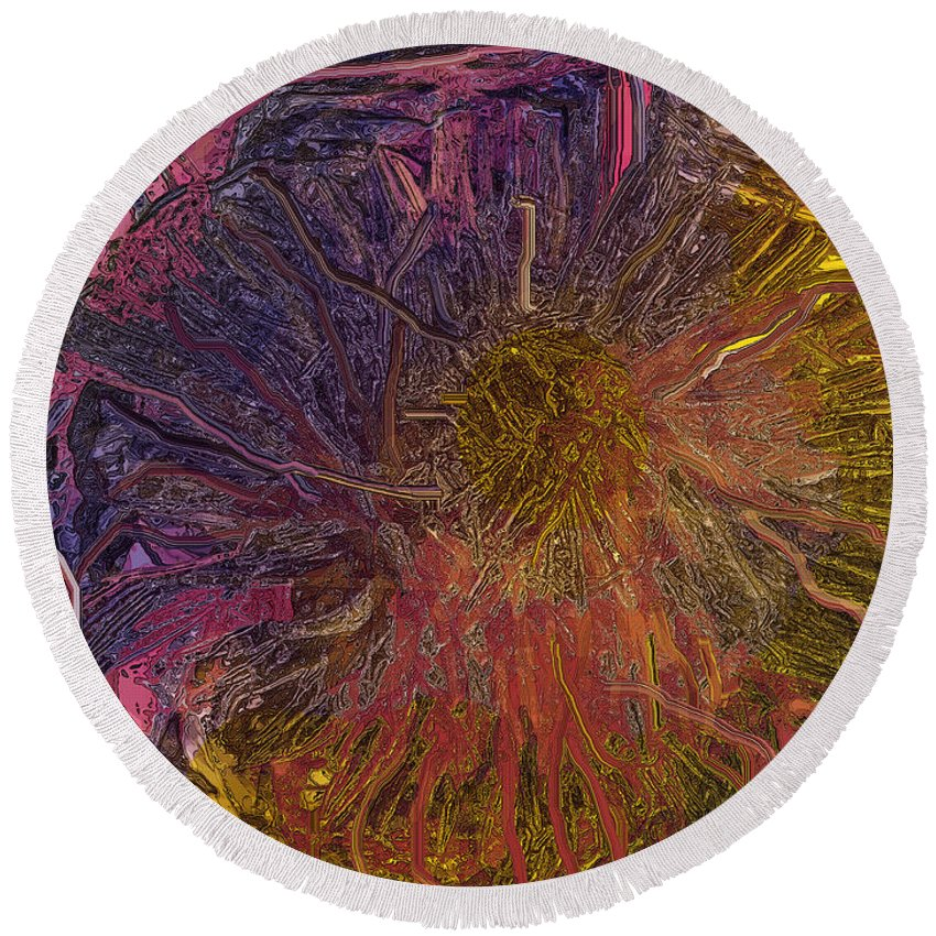 Abstract Round Beach Towel featuring the digital art Tangled And Lost by Ian MacDonald