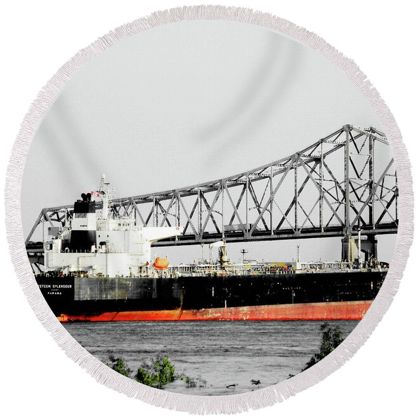 Mississippi River Round Beach Towel featuring the photograph Tanker Baton Rouge by Lizi Beard-Ward