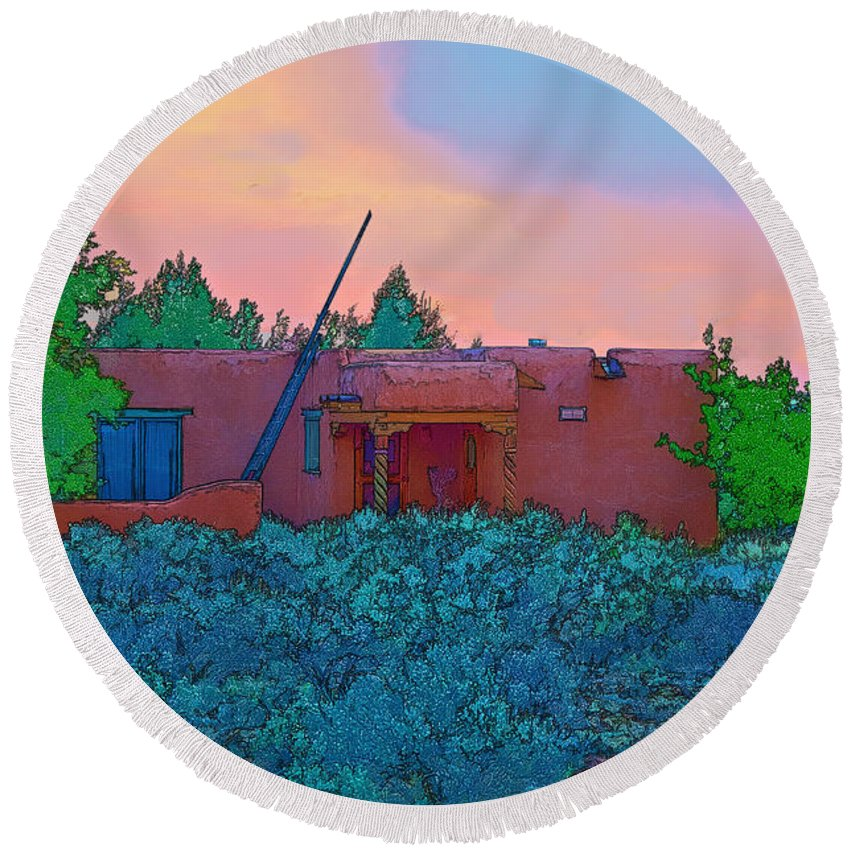 Taos Round Beach Towel featuring the photograph Taos Casita II by Charles Muhle