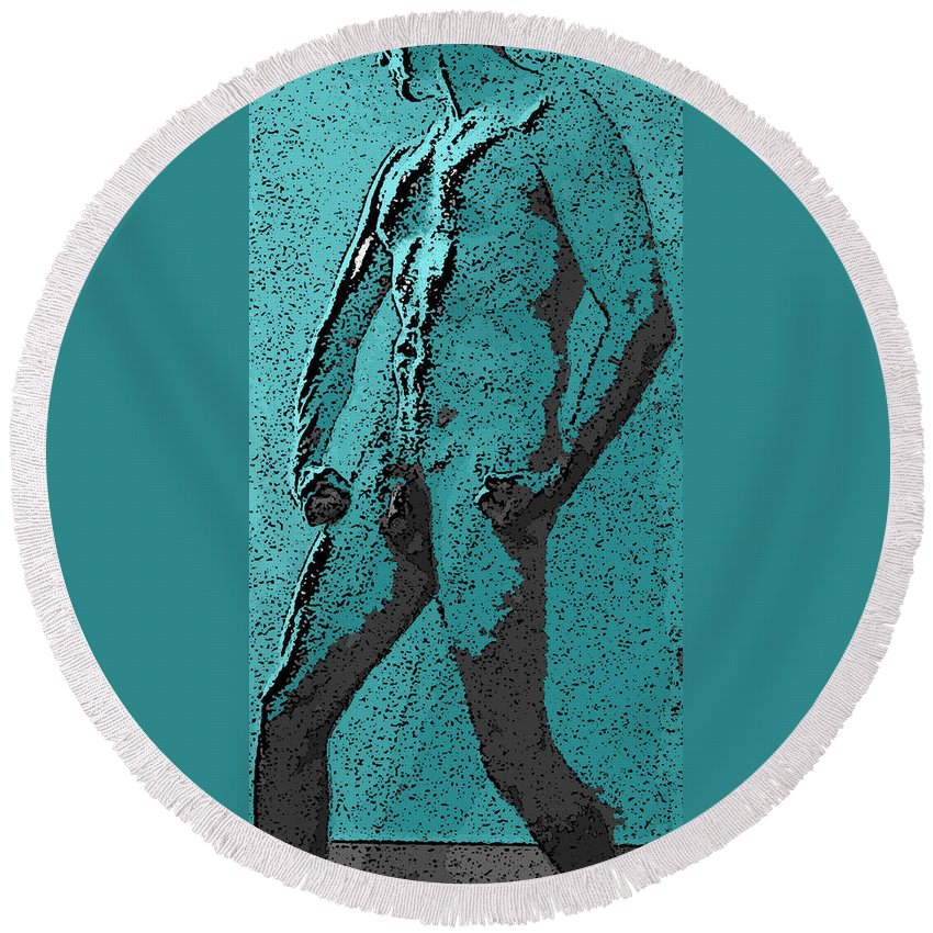 Man Round Beach Towel featuring the digital art Teal Appeal by Teri Schuster