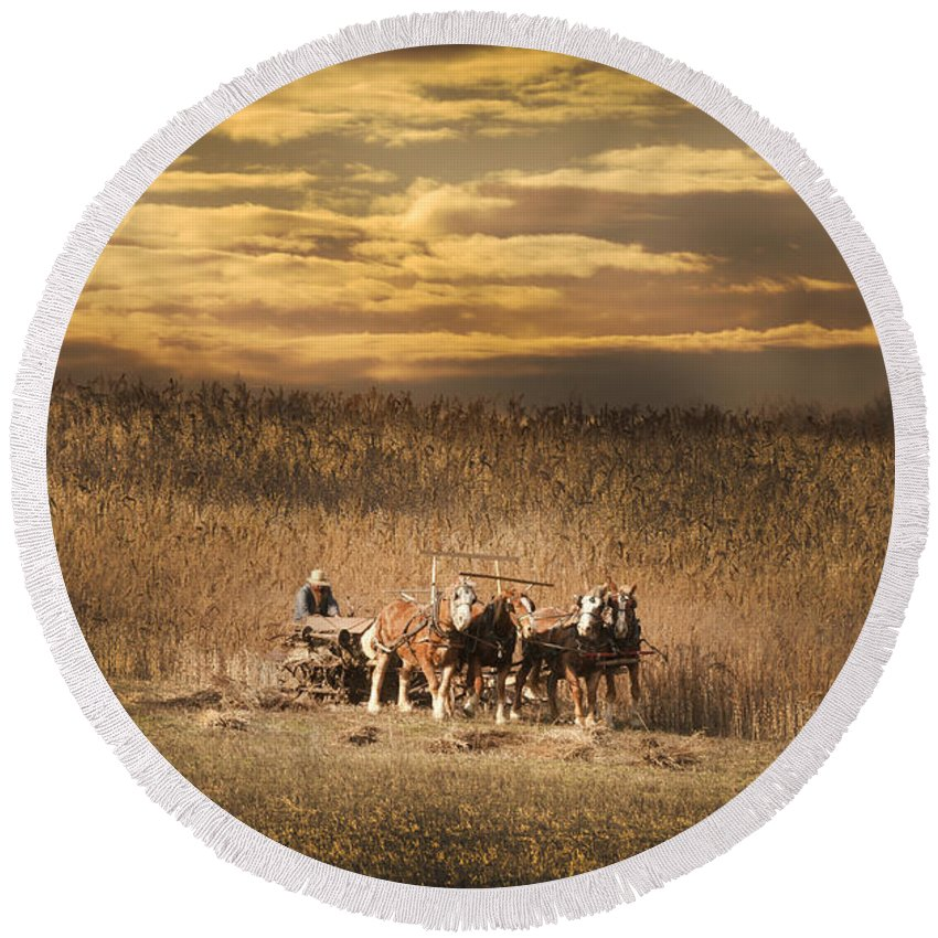 Four Horses Round Beach Towel featuring the photograph Team Of Four Horses by Randall Branham