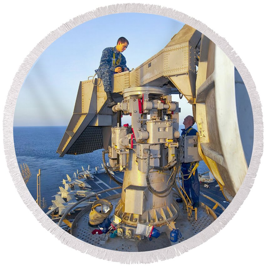 Radar Round Beach Towel featuring the photograph Technicians Perform Maintenance by Stocktrek Images