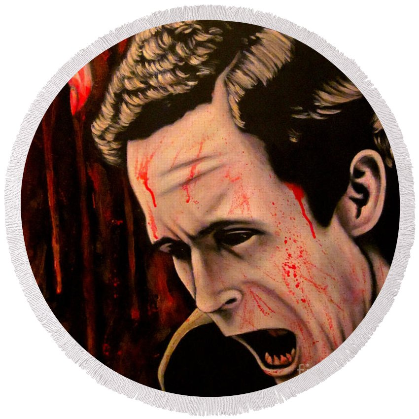 Serial Killer Round Beach Towel featuring the painting Ted Bundy by Justin Coffman